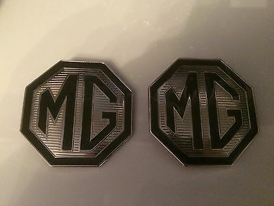 MG TF Badge Front and rear boot badges 70mm x 2 with lug holes Black & Crome