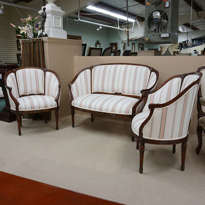 Fantastic French Settee and 2 arm chairs in Mahogany with striped fabric