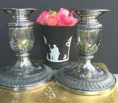 Pair Of Antique Silver Plate Candlesticks