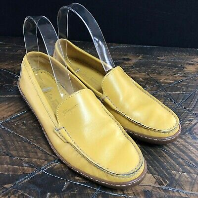 54287a5e0a2 Ferragamo Womens Yellow Leather Slip On Loafers Shoes Made in Italy Size 7 B