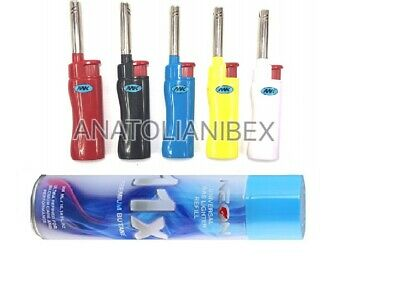 5 MK CANDLE BBQ TORCH Pipe Lighters W NEON 11X Butane Refill Fuel Fluid 10oz Can