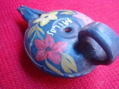 Old type pottery oil lamp from Greece handmade island Milos