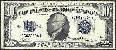 1934D $10 BLUE Seal SILVER Certificate! Old US Paper Money!