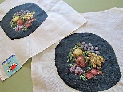 PAIR Matching Vtg FRUIT Needlepoint DARK TEAL Background Nearly Complete