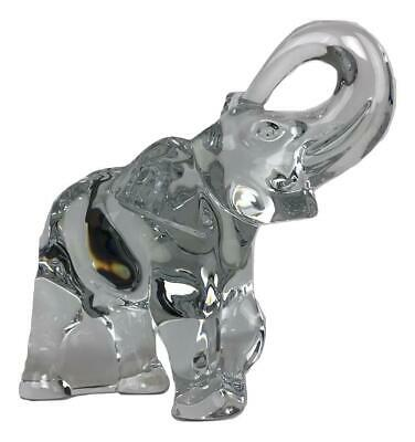 Vtg BACCARAT France Signed Crystal Trunk Up Good Luck Elephant Figure Figurine