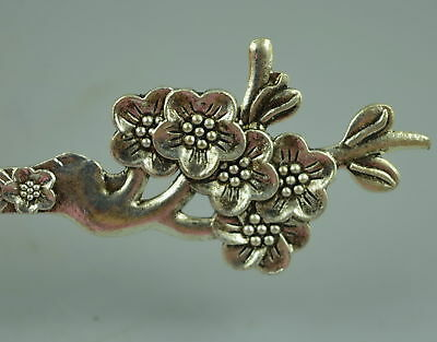 AAA Fine Collect Tibet Silver Carve Bloomy Plum Blossom Noble Rare Updo Hairpin