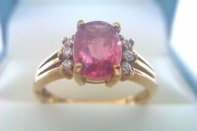 Beautiful Vintage 9ct Gold Pink Sapphire & Diamond Ladies Ring 2006