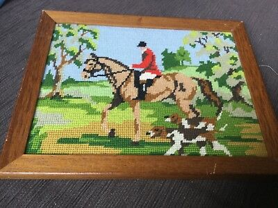 Framed finished tapestry: 28x23cm horse and dogs, wooden frame