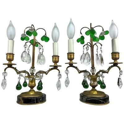Antique French Louis XVI Bronze Crystal Fruit Girandole Boudoir Lamps Candelabra