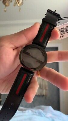 18cfbb89257 GUCCI INTERLOCKING G Black Dial Leather Strap Men s Watch YA133206 ...