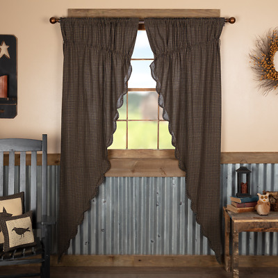 Kettle Grove Black/Khaki Plaid Country Cottage Long Prairie Window Curtains