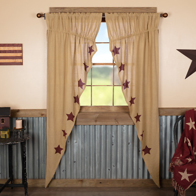 Burlap W/Burgundy Stenciled Stars Country Primitive Window Long Prairie Curtains