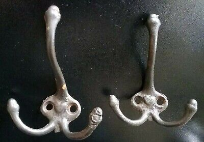 Matching Pair Vintage Cast Iron Wall Coat Triple Hooks Hardware