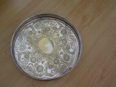 """Vintage Viners Chased Gallery Tray - Silver Plated 12"""" Dia"""