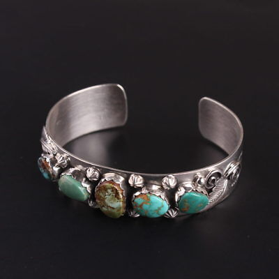 Turquoise sterling silver .925 Authentic Navajo cuff bracelet Native American