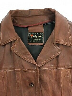 MENS VINTAGE 1970's REED SPORTSWEAR BROWN LEATHER JACKET Size 42-44