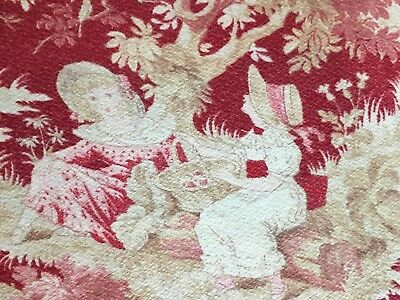 Antique French Fabric Roses Apples Chickens Children Orchard Reds Pinks