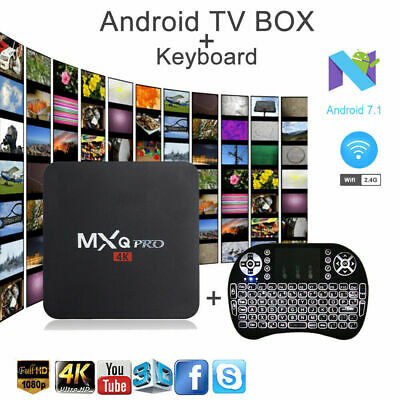 2019 MXQ PRO Smart TV Box Android 7.1 Quad Core WIFI 4K 1+8G Backlit Keyboard H9