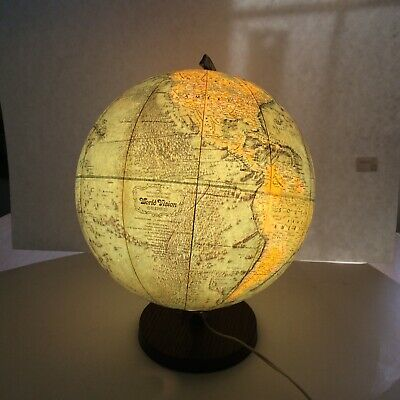 """Vtg Replogle 12"""" Lighted Glass Library World Globe Atlas Map Old Countries USSR"""