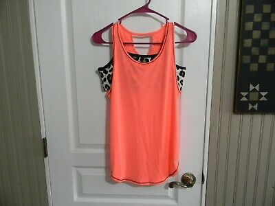 Nwt Justice Girls  Active Performance 2Fer Tank  18 Bright Peach Poly