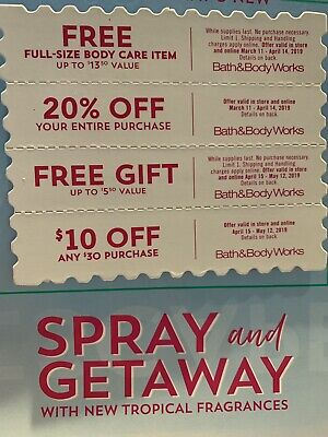 Bath and Body Works Coupons $13.50 gift , 20% Off ,$5.50 Gift, $ 10 Off $30.00