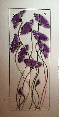 Stained Glass Purple Floral Handmade Suncatcher