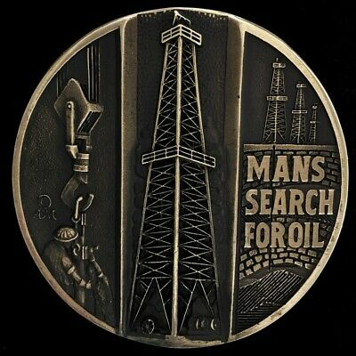 Mans Search Oil Rig Field Derrick Gas 1980s ADM Solid Brass Vintage Belt Buckle