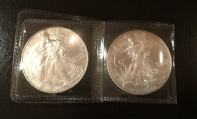 2000 American Silver Eagle 1 oz Coin $1 Dollar U.S. Mint Lot Of Two (2)!