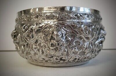 "Indian Burmese Repousse Silver Rice Bowl 5 1/2"" Signed - 222 grams Antique Asian"