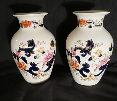 Antique Mason's Ironstone Mandalay Blue China 2 Urn Vases Hand Painted Floral 8""