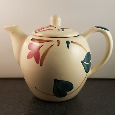 Vintage Purinton 4-cup pottery teapot with Red Blossom Ivy pattern