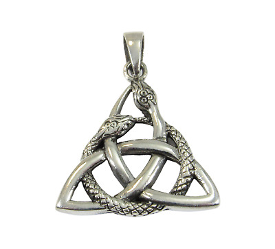 Handcrafted 925 Sterling Silver Interwoven Snake TRIQUETRA Trinity Knot Pendant