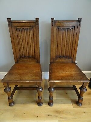Antique Jacobean Gothic Style Solid Oak Carved Wooden Hall Church Chapel Chairs