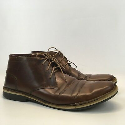9c022fb0621 STEVE MADDEN MENS Harken 247 Brown Cognac Leather Chukka Ankle Boots Size 12