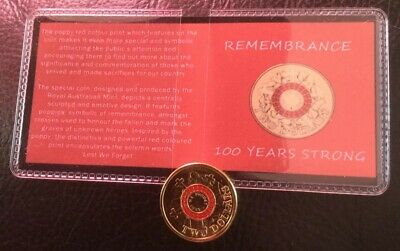 2015 Anzac 100 Yrs Gallipoli Red $2 Coin In Commemorative Flip Free Au Post