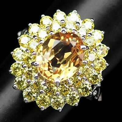 Three Stone Cluster Ring 925 Silver Amazing Top Jewelry Madeira Citrine 1.99 Ct
