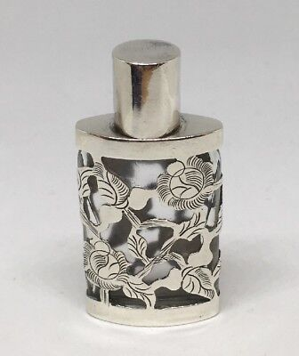 Taxco Mexico Glass Scent Perfume Bottle w/ Sterling Silver Overlay Floral Etched