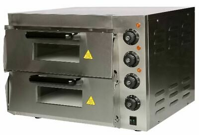 Stainless Steel Compact Double Pizza Deck Oven