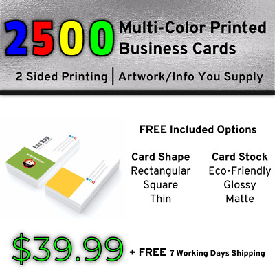 2500 Full Color Print Business Cards   Double Side Print + Other Included Option