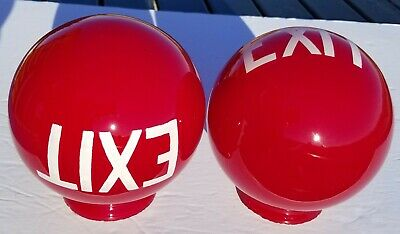Vintage Exit Sign Red Glass Globe Antique Light Shade with White Letters Qty. 2