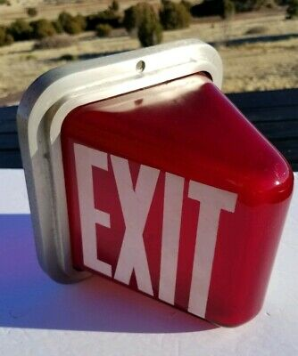 Vintage Ruby Red PERFECLITE EXIT Sign KOPP Light Theater Art Deco glass globe