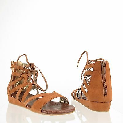 05a356730 Girl s Sam Edelman Danica Shoes Brown Leather Gladiator Sandals Size 3 M