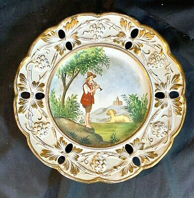 """Vintage Italian Ardalt Hand Painted and Reticulated 8.5"""" Plate"""