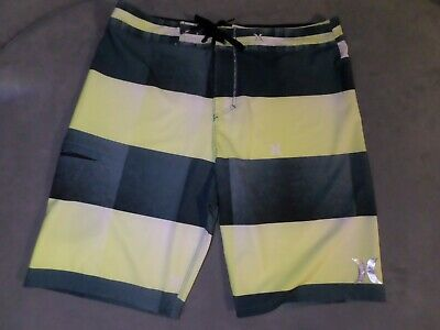 9f0a25caf0 Hurley Phantom Board Shorts Swim Trunks Surf Green Yellow Stripe EUC Size 34