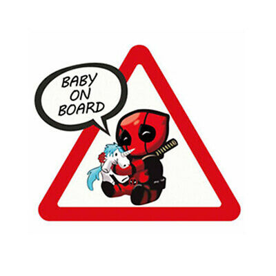 Autocollant Voiture Bébé à bord Deadpool Baby on Board car Sticker Aufkleber