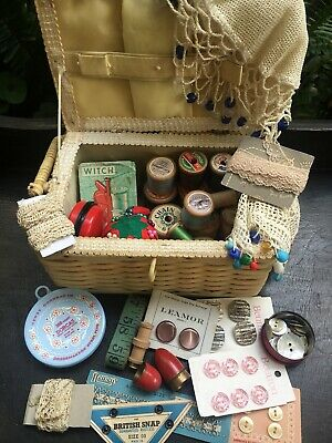 Vintage Sewing Box Basket & Contents Needle Case Wooden Cotton Reels Pin Cushion