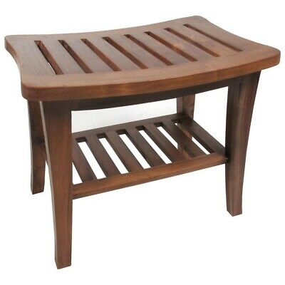 Teak Shower Bench Shelf Bathroom Seat Chair Wood Spa Indoor Outdoor Freestanding