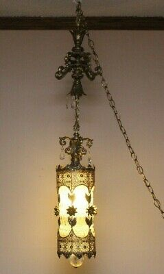 Crystal HANGING PENDANT LIGHT FIXTURE ANTIQUE VINTAGE ART DECO Brass FOYER HALL