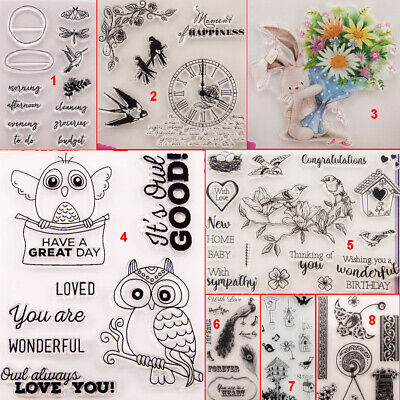 Happy Bird Transparent Silicone Clear Stamps DIY Scrapbook Embossing Owl Rabbit