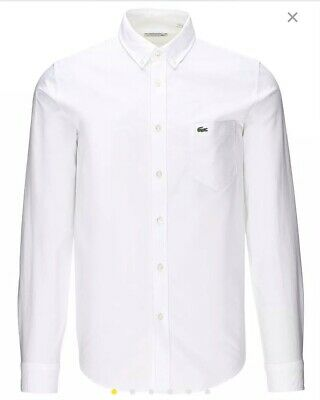 Lacoste Mens Oxford White Long Sleeve Shirt CH2286-00 RRP £95.00